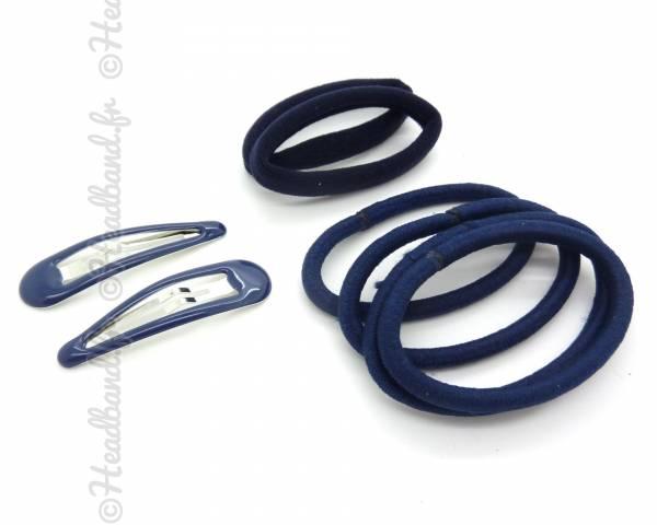 Lot barrettes élastiques bleu