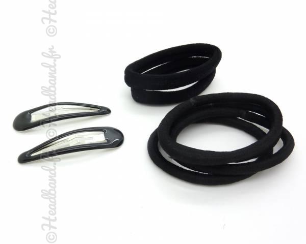 Lot barrettes élastiques noir