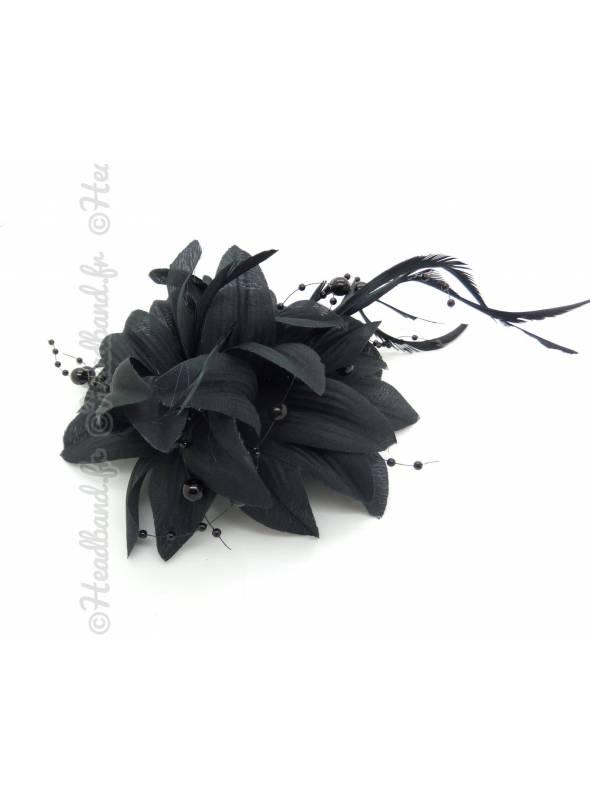 Barrette perles et plumes noire