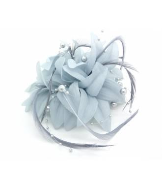 Barrette perles et plumes gris