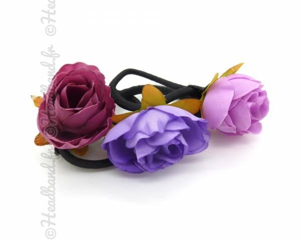 Élastiques fleuris tons violets