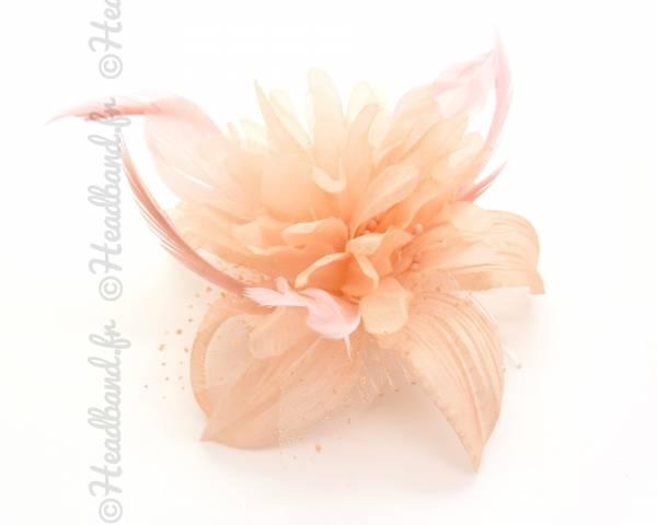 Peigne fleur saumon