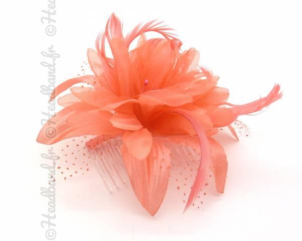 Peigne fleur corail