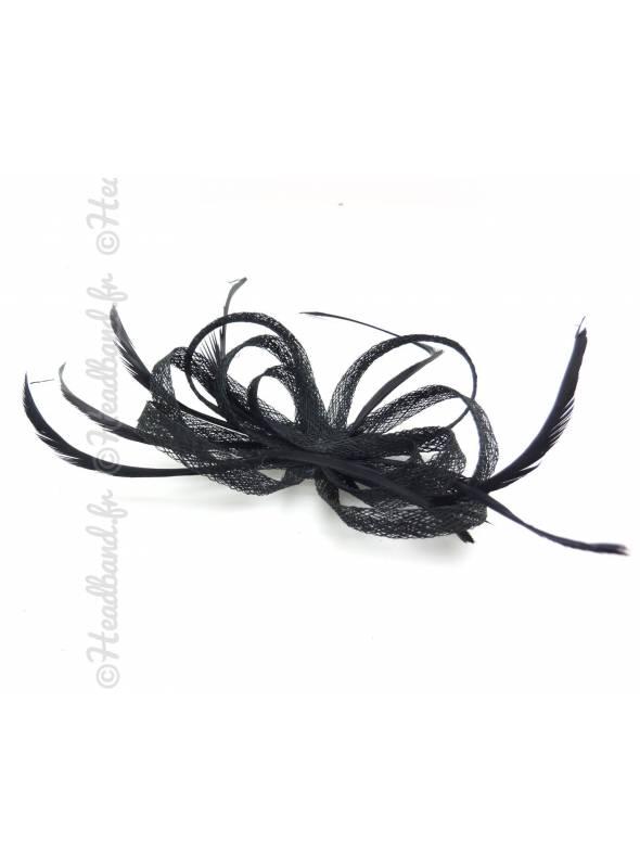 Barrette noire à plumes