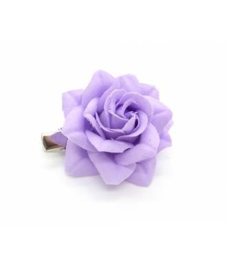 Barrette clip camélia violette