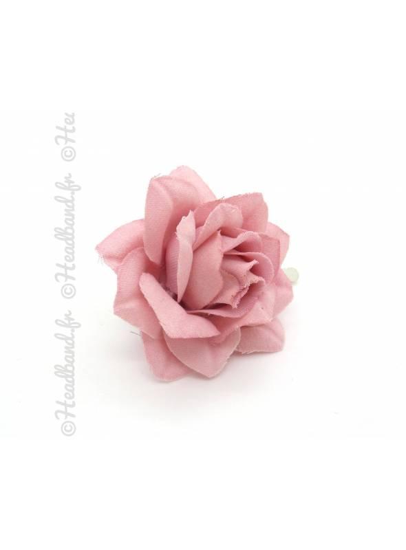 Barrette camélia tissu vieux rose