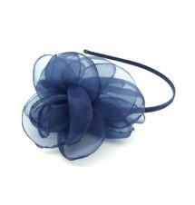 Serre-tête fleur organza bleu