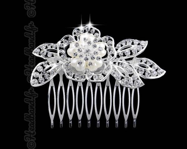 Peigne fleur nacrée monture métal
