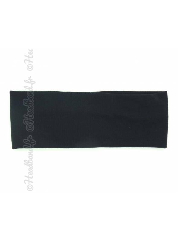 Bandeau jersey noir 7 cm