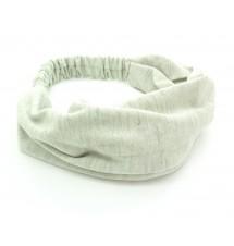 Bandeau coton large gris clair porté