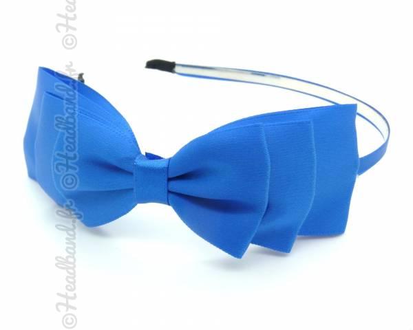 Serre-tête satin bleu klein