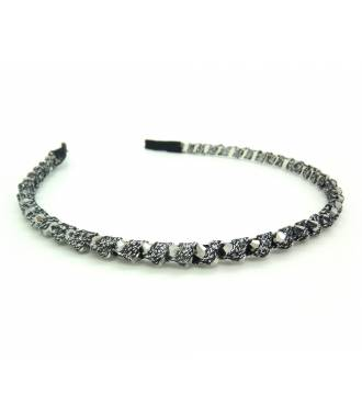 Serre-tête ruban et perles gris