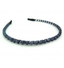 Serre-tête ruban et perles bleu zoom