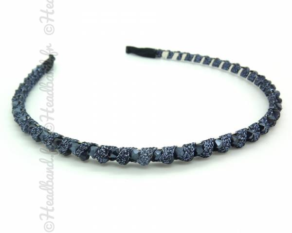 Serre-tête ruban et perles bleu