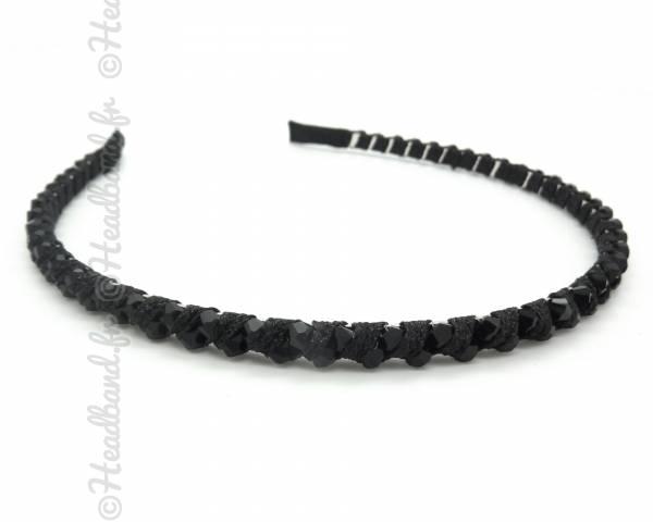 Serre-tête ruban et perles noir