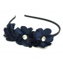 Serre-tête couronne fleurs marine porté