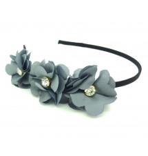 Serre-tête couronne fleurs gris porté