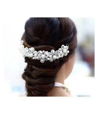 Tiare mariage cascade perles blanches