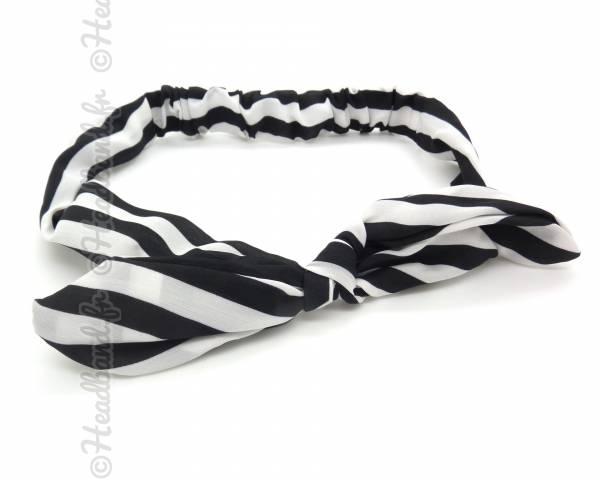 Bandeau motifs marinière noir et blanc