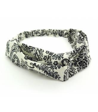 Turban imprimé arabesques blanc