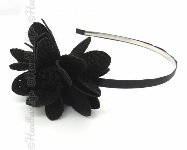 Serre-tête fleur chiffon noir