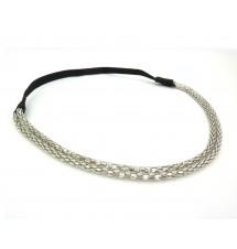 Headband double chaîne argenté porté