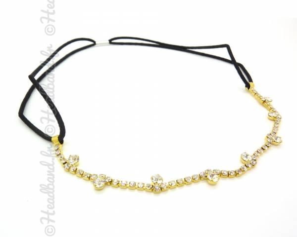 Headband incrusté de strass doré