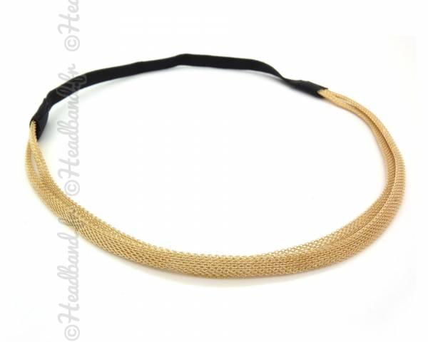 Headband 2 rangs métal doré