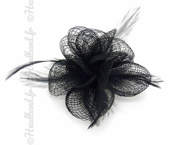 Barrette sisal déco fleur noire