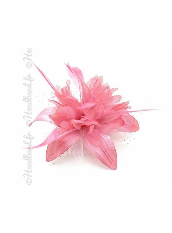 Peigne fleur rose