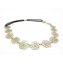 Headband fleur métal argenté porté