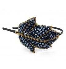 Serre-tête perles feuille bleutée porté
