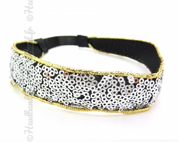 Headband large sequins argenté