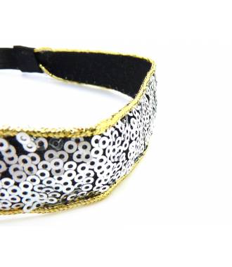 Headband large sequins argenté zoom