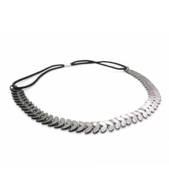 Headband laurier gris métal