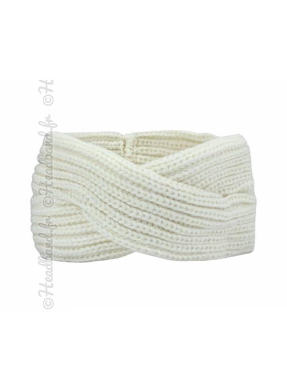 Turban maille croisement blanc
