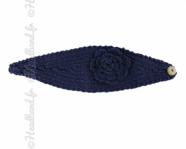 Bandeau maille fleur bleu