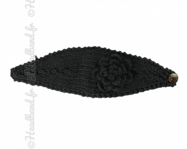 Bandeau maille fleur noir