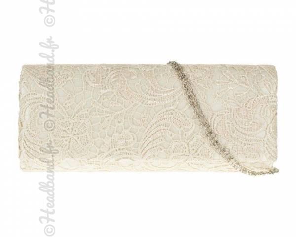 Pochette dentelle ivoire