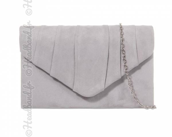 Pochette faux daim gris