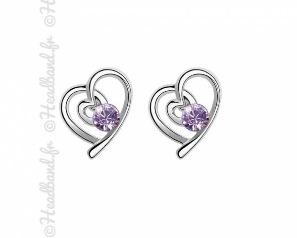Boucles d'oreilles St Valentin violettes