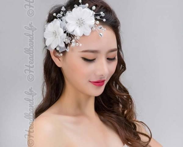 Peigne mariage fleurs blanches