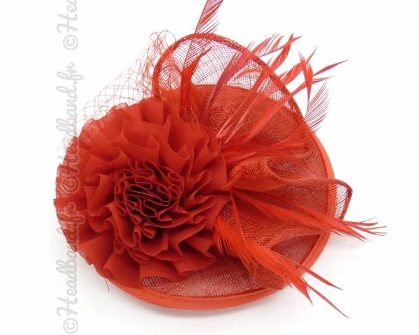 Chapeau sinamay fleur rouge