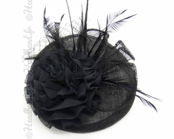 Chapeau bibi fleur tissus noir