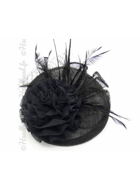 Chapeau sinamay fleur noir