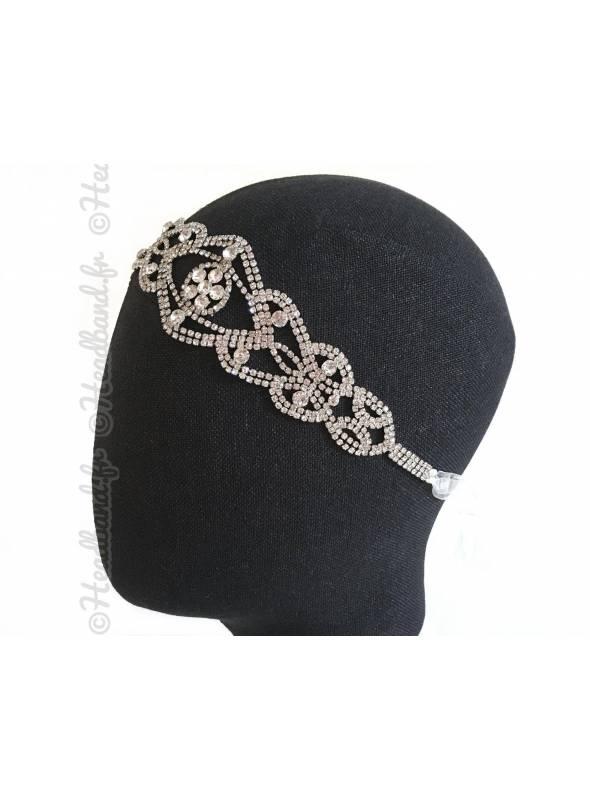 Tour de tête strass ruban porté