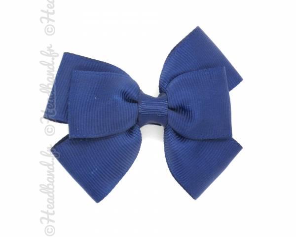 Barrette nœud tissu bleu