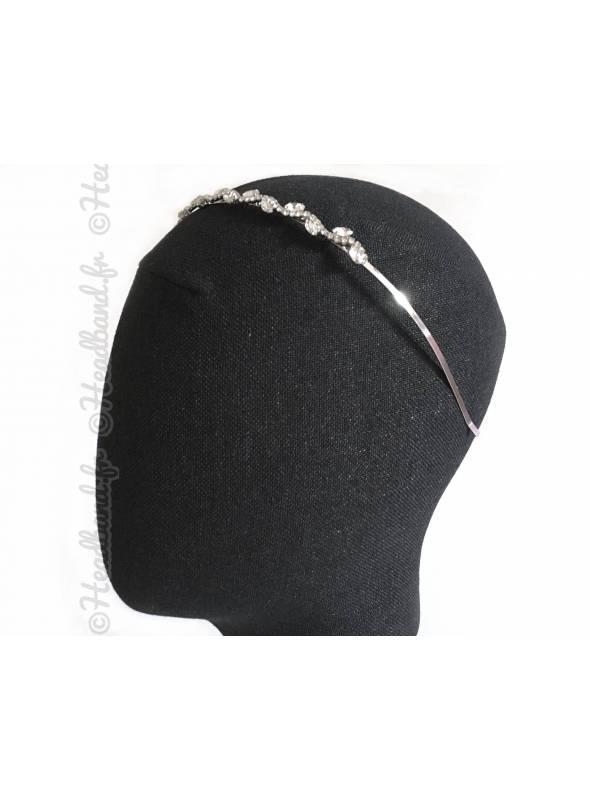 Tiare argentée cristaux en épi porté