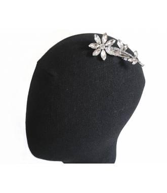 Pince cristaux épi fleur argenté