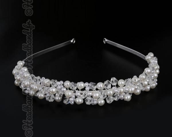Serre-tête épais perles blanches